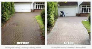 Before and After Driveway Cleaning Photo