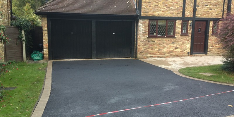 New Tarmac Driveway With Brick Edging