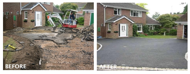 Before and After New Tarmac Driveway
